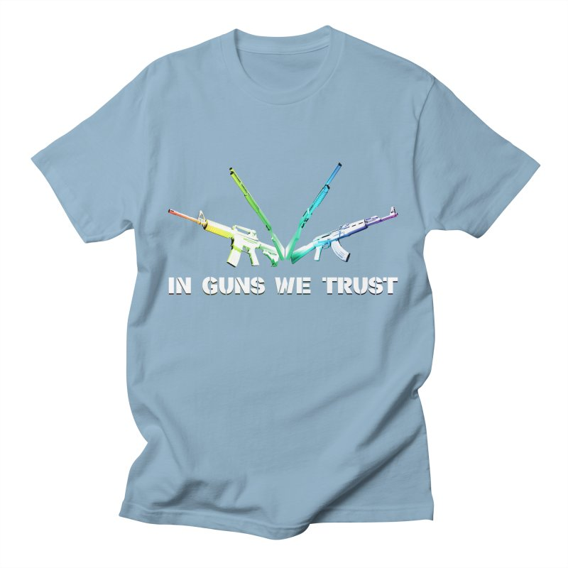 IN GUNS WE TRUST Men's Regular T-Shirt by rikimountain's Artist Shop