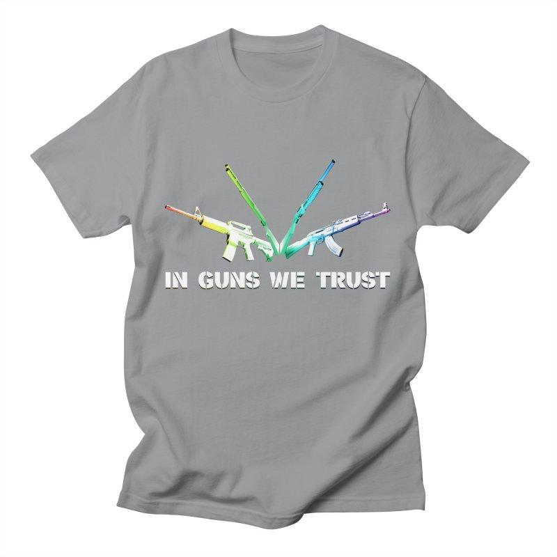 IN GUNS WE TRUST Men's T-Shirt by rikimountain's Artist Shop