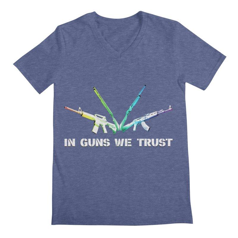 IN GUNS WE TRUST Men's Regular V-Neck by rikimountain's Artist Shop