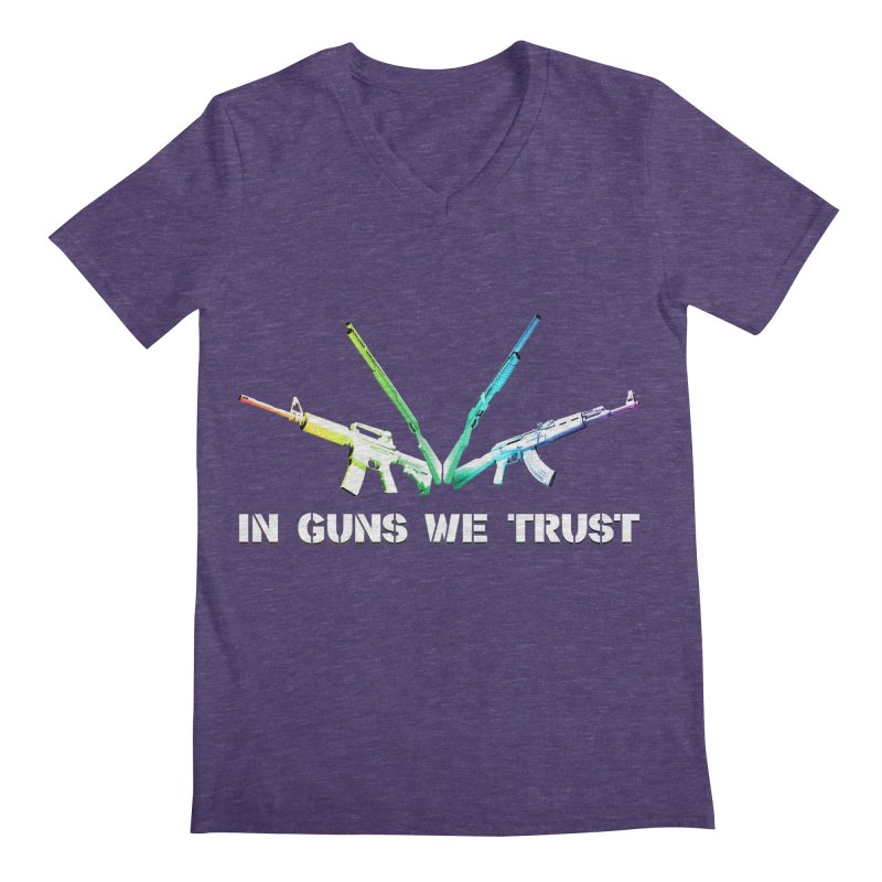 IN GUNS WE TRUST Men's V-Neck by rikimountain's Artist Shop