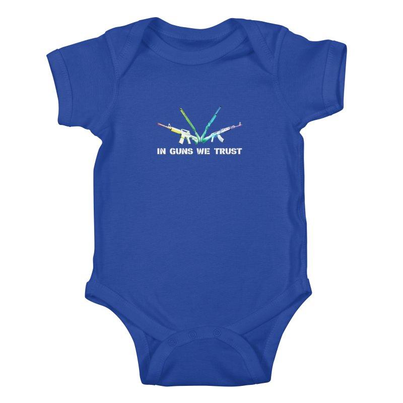 IN GUNS WE TRUST Kids Baby Bodysuit by rikimountain's Artist Shop