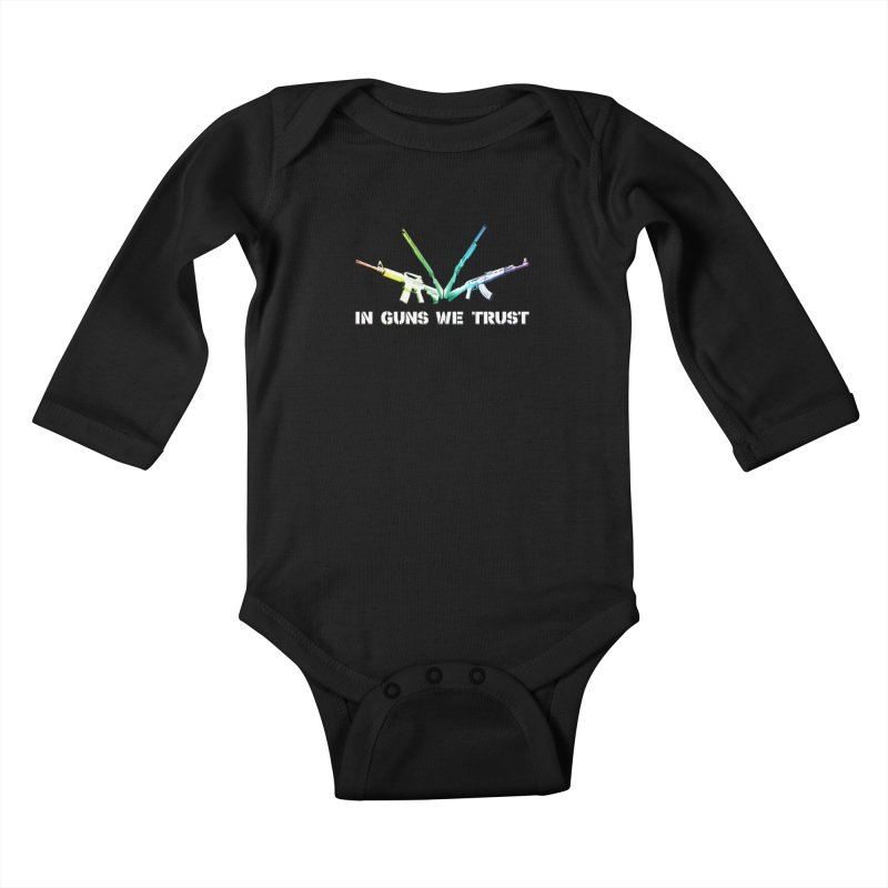 IN GUNS WE TRUST Kids Baby Longsleeve Bodysuit by rikimountain's Artist Shop