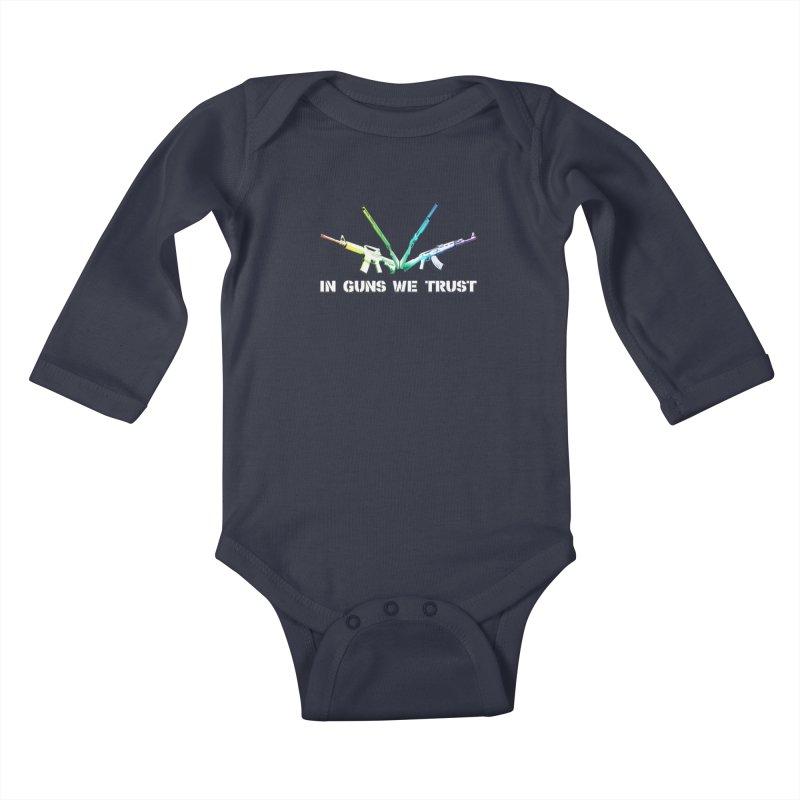 IN GUNS WE TRUST Kids Baby Longsleeve Bodysuit by rikimountain's Artist Shop