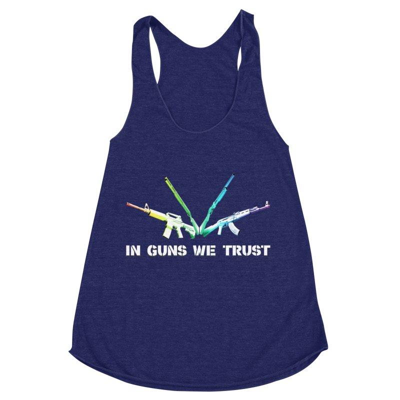 IN GUNS WE TRUST Women's Racerback Triblend Tank by rikimountain's Artist Shop