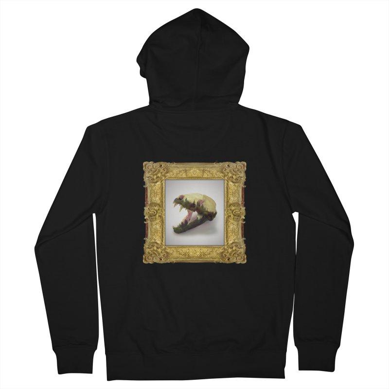 Badger Skull Men's French Terry Zip-Up Hoody by rikimountain's Artist Shop