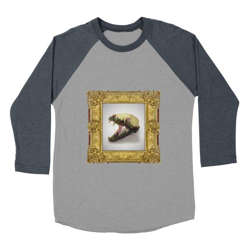 Badger Skull Men's Baseball Triblend T-Shirt by rikimountain's Artist Shop