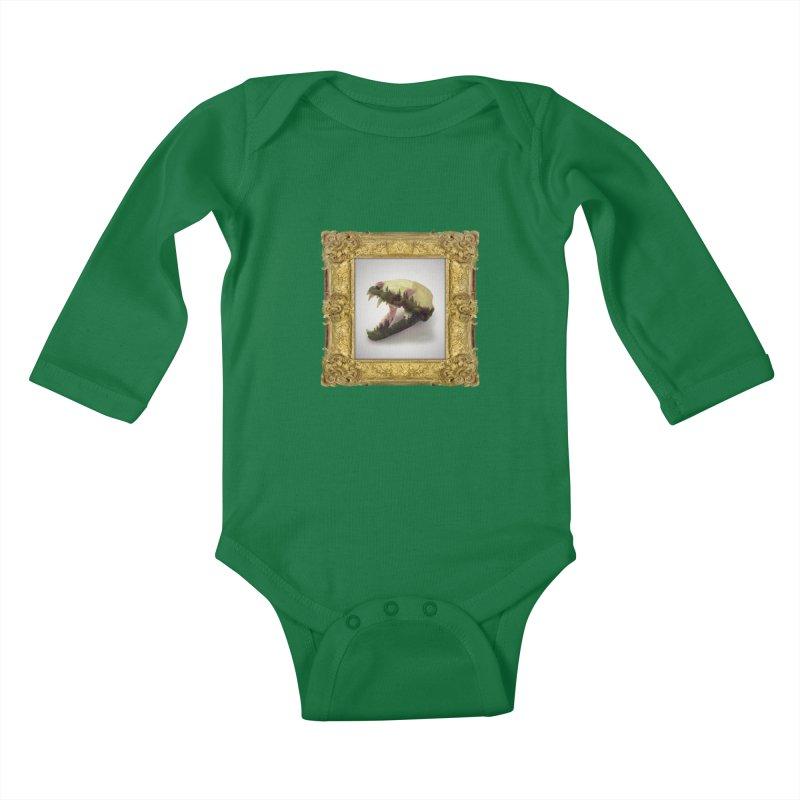 Badger Skull Kids Baby Longsleeve Bodysuit by rikimountain's Artist Shop