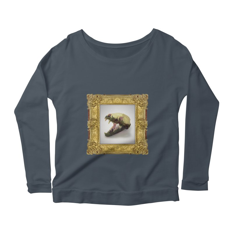 Badger Skull Women's Scoop Neck Longsleeve T-Shirt by rikimountain's Artist Shop