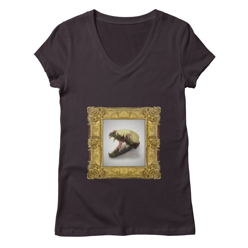 Badger Skull Women's Regular V-Neck by rikimountain's Artist Shop
