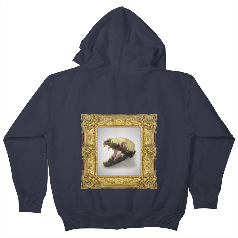 Badger Skull Kids Zip-Up Hoody by rikimountain's Artist Shop