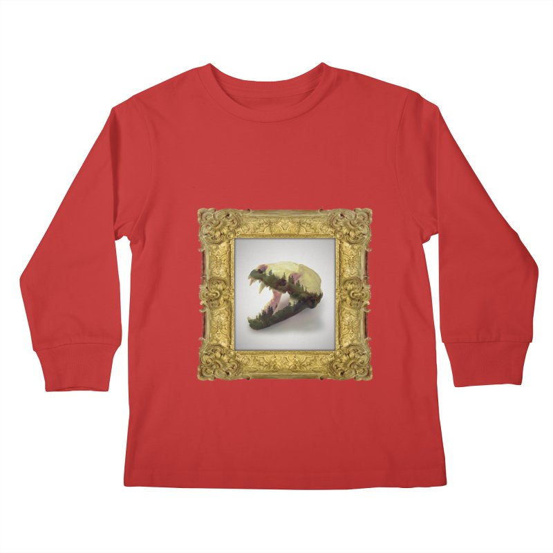 Badger Skull Kids Longsleeve T-Shirt by rikimountain's Artist Shop