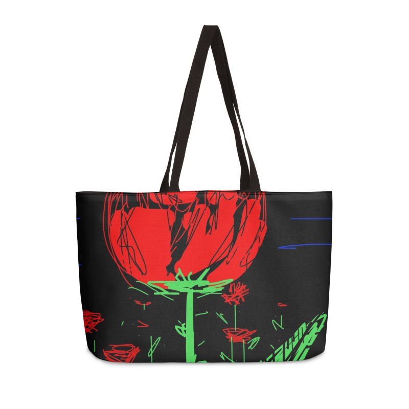 Red flower Accessories Weekender Bag Bag by rimadi's Artist Shop