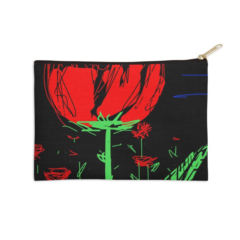 Red flower Accessories Zip Pouch by rimadi's Artist Shop