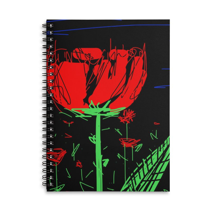Red flower Accessories Lined Spiral Notebook by rimadi's Artist Shop