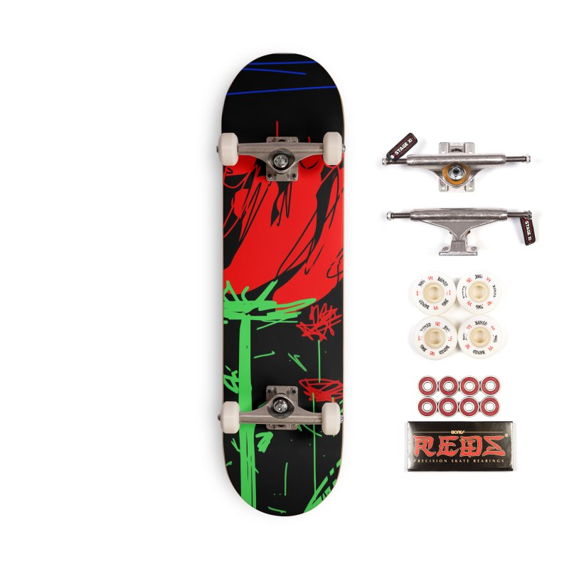 Red flower Accessories Complete - Pro Skateboard by rimadi's Artist Shop