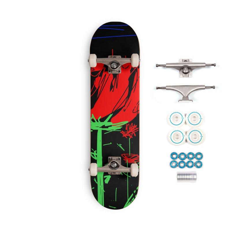 Red flower Accessories Complete - Basic Skateboard by rimadi's Artist Shop