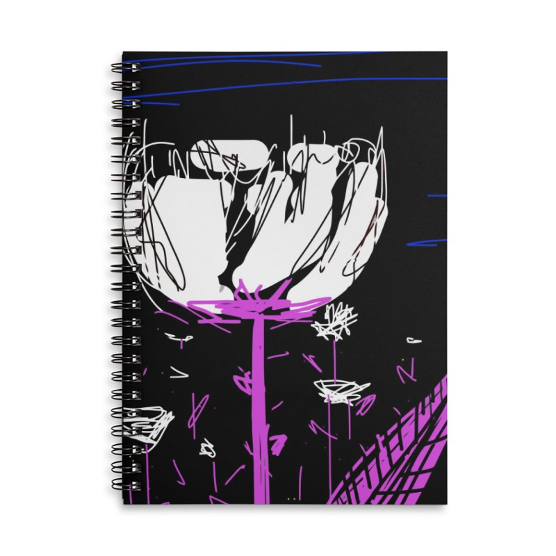 White flower Accessories Lined Spiral Notebook by rimadi's Artist Shop