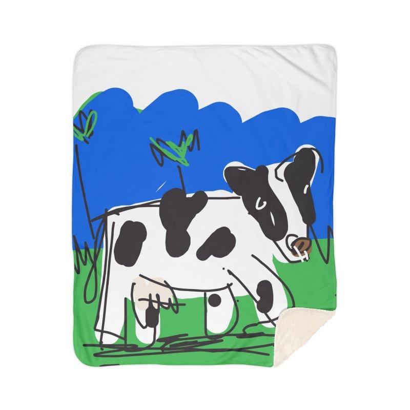 Cow Home Sherpa Blanket Blanket by rimadi's Artist Shop