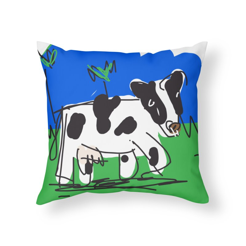 Cow Home Throw Pillow by rimadi Shop