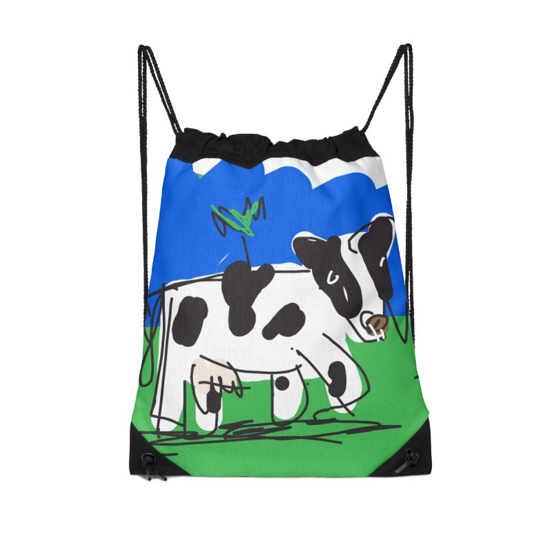 Cow Accessories Drawstring Bag Bag by rimadi's Artist Shop