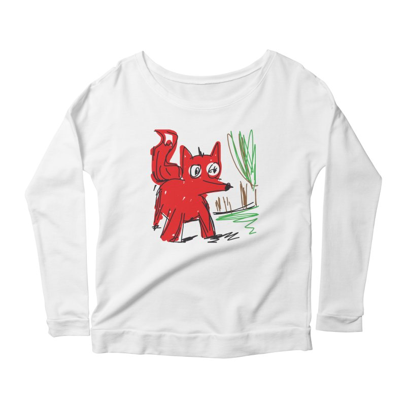Fox Women's Scoop Neck Longsleeve T-Shirt by rimadi's Artist Shop