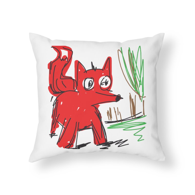 Fox Home Throw Pillow by rimadi's Artist Shop