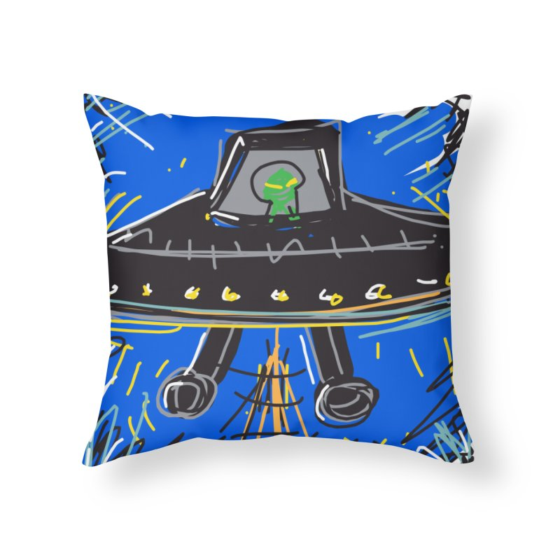 UFO Home Throw Pillow by rimadi's Artist Shop