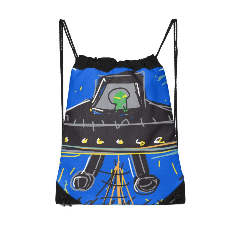 UFO Accessories Drawstring Bag Bag by rimadi's Artist Shop