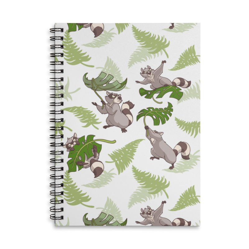 Leave It To Raccoons Accessories Lined Spiral Notebook by Rina Rozsas's Artist Shop