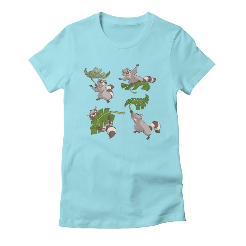 Leave It To Raccoons Women's Fitted T-Shirt by Rina Rozsas's Artist Shop