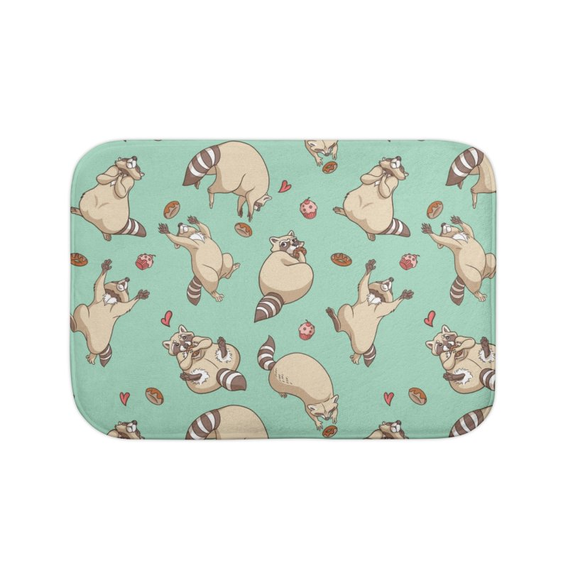 Raccoons Love Home Bath Mat by Rina Rozsas's Artist Shop