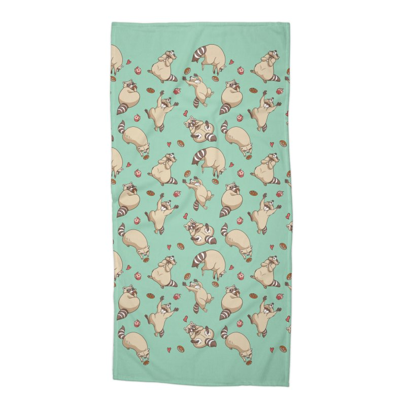 Raccoons Love Accessories Beach Towel by Rina Rozsas's Artist Shop