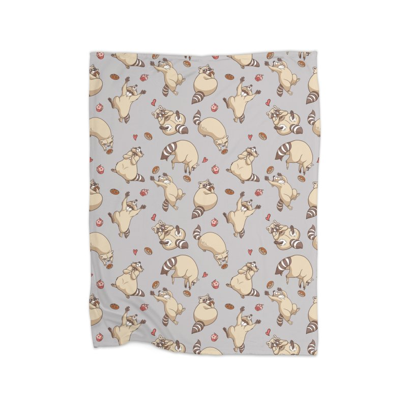Raccoons Love Home Fleece Blanket Blanket by Rina Rozsas's Artist Shop
