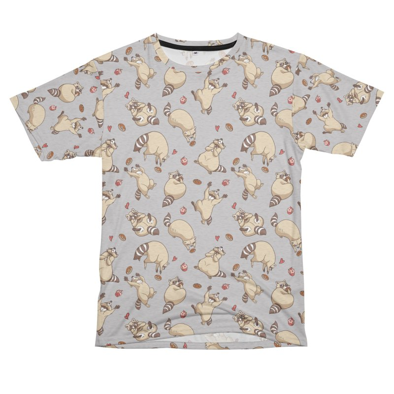 Raccoons Love Men's French Terry T-Shirt Cut & Sew by Rina Rozsas's Artist Shop