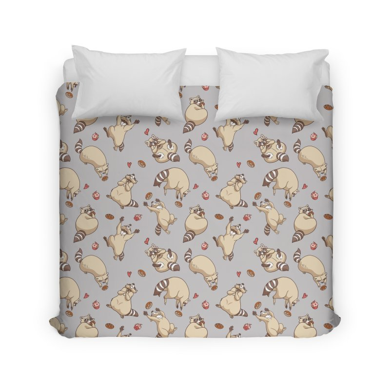 Raccoons Love Home Duvet by Rina Rozsas's Artist Shop