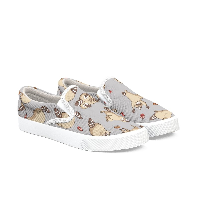 Raccoons Love Men's Slip-On Shoes by Rina Rozsas's Artist Shop