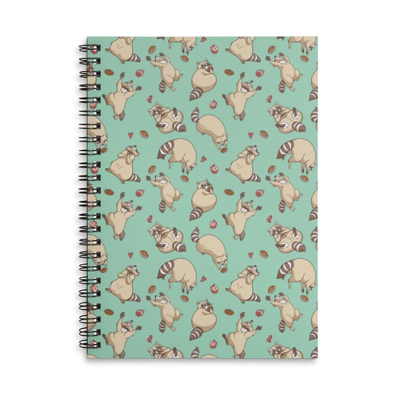 Raccoons Love Accessories Lined Spiral Notebook by Rina Rozsas's Artist Shop