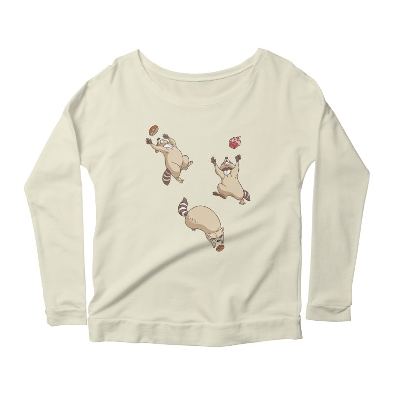 Raccoons Love Women's Scoop Neck Longsleeve T-Shirt by Rina Rozsas's Artist Shop