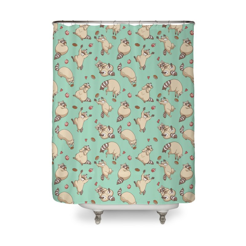 Raccoons Love Home Shower Curtain by Rina Rozsas's Artist Shop
