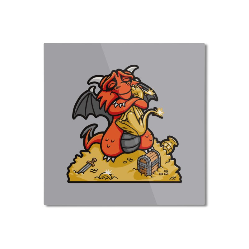 Dmitri the Dragon Loves Home Mounted Aluminum Print by Rina Rozsas's Artist Shop