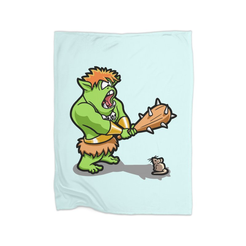 Ollie the Cyclops Finds His Nemesis Home Fleece Blanket Blanket by Rina Rozsas's Artist Shop