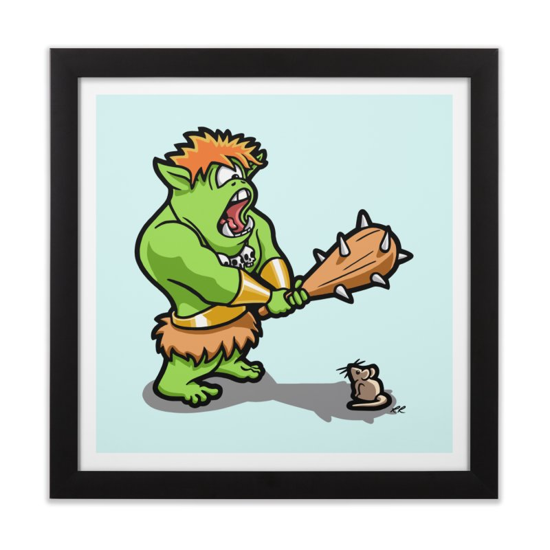 Ollie the Cyclops Finds His Nemesis Home Framed Fine Art Print by Rina Rozsas's Artist Shop
