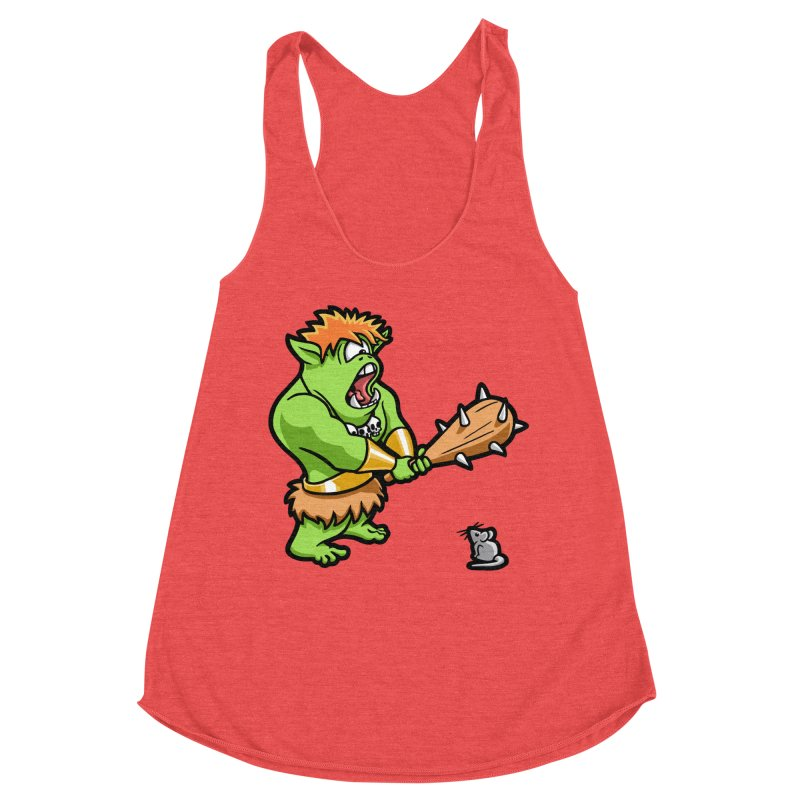 Ollie the Cyclops Finds His Nemesis Women's Racerback Triblend Tank by Rina Rozsas's Artist Shop