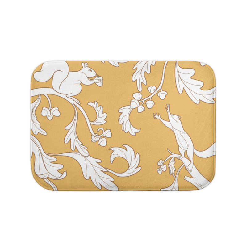 Squirrels and Acorns Ochre Home Bath Mat by Rina Rozsas's Artist Shop