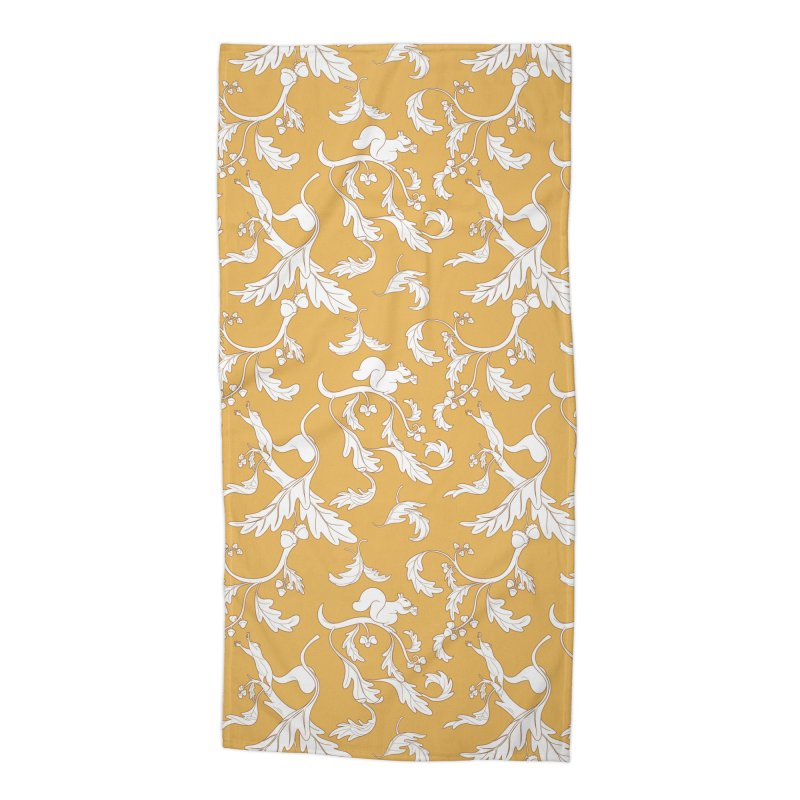 Squirrels and Acorns Ochre Accessories Beach Towel by Rina Rozsas's Artist Shop