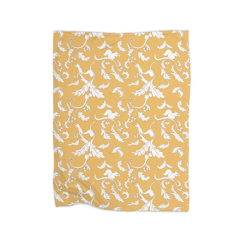 Squirrels and Acorns Ochre Home Blanket by Rina Rozsas's Artist Shop