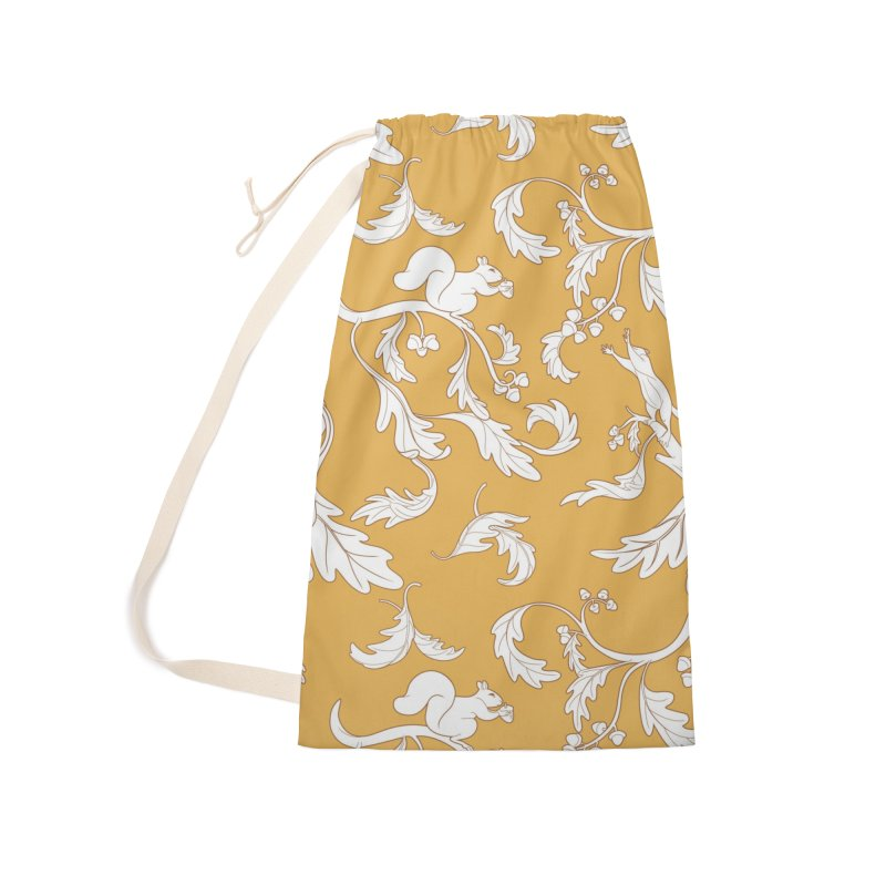 Squirrels and Acorns Ochre Accessories Laundry Bag Bag by Rina Rozsas's Artist Shop