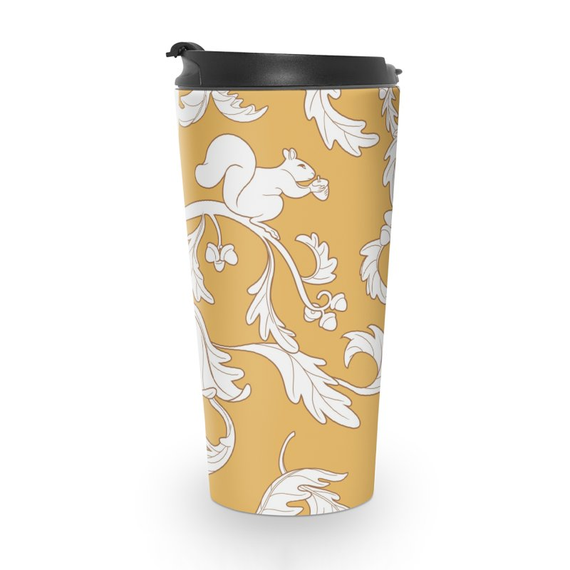 Squirrels and Acorns Ochre Accessories Travel Mug by Rina Rozsas's Artist Shop