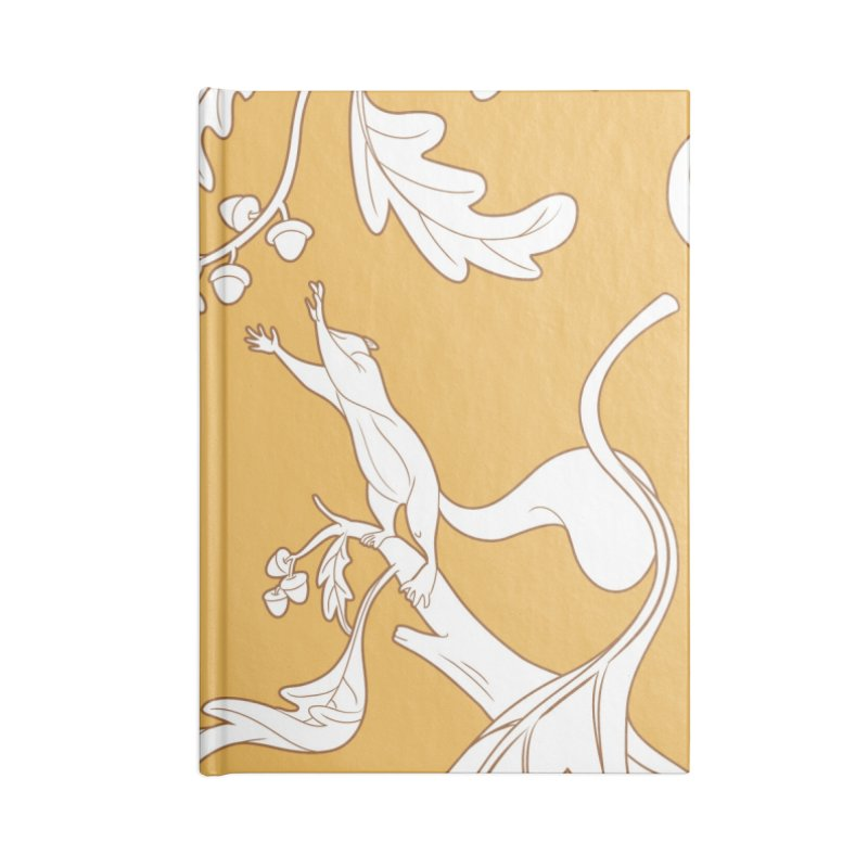 Squirrels and Acorns Ochre Accessories Lined Journal Notebook by Rina Rozsas's Artist Shop