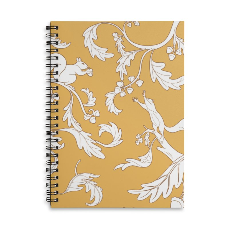 Squirrels and Acorns Ochre Accessories Lined Spiral Notebook by Rina Rozsas's Artist Shop